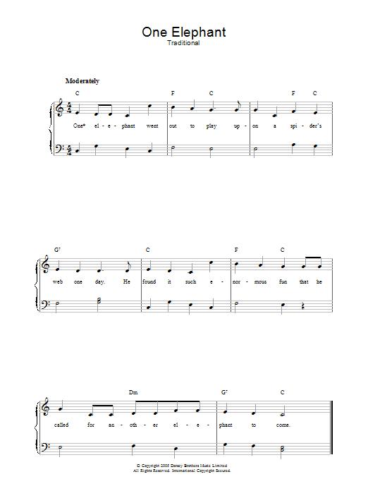 One Elephant (Piano, Vocal & Guitar)