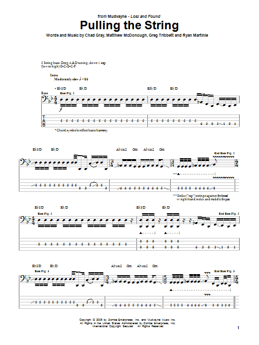 Tablature guitare Pulling The String de Mudvayne - Tablature Basse