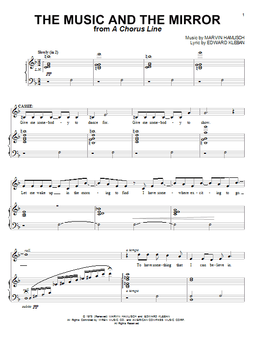 The Music And The Mirror (from A Chorus Line) Sheet Music