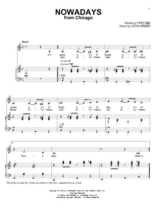 Nowadays (Piano & Vocal)