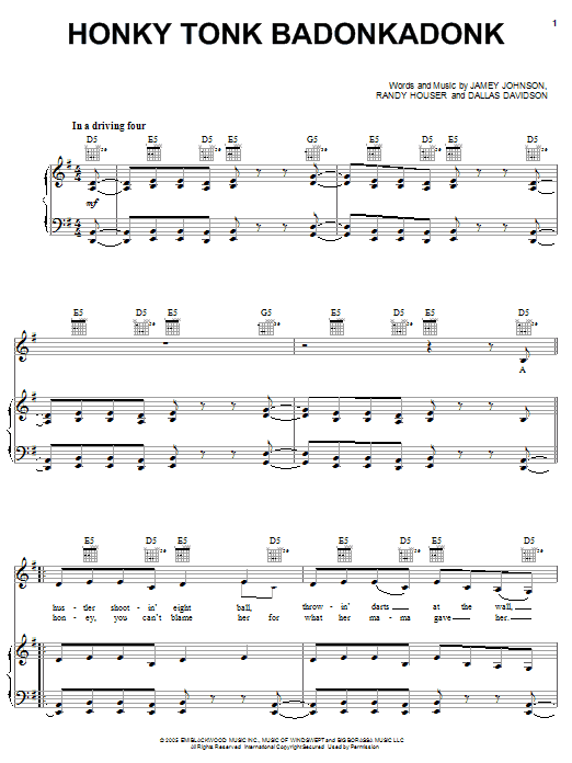 Partition piano Honky Tonk Badonkadonk de Trace Adkins - Piano Voix Guitare (Mélodie Main Droite)