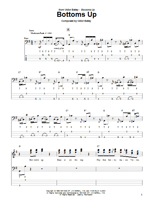 Bottoms Up (Bass Guitar Tab)