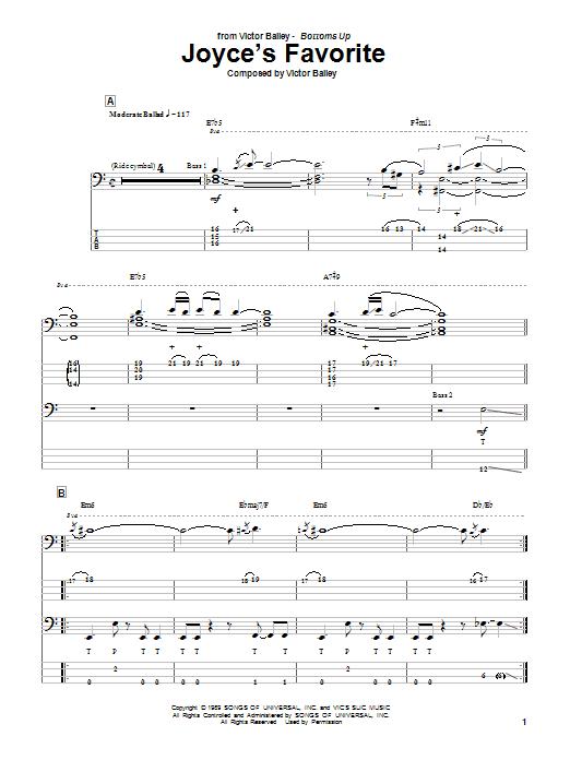 Joyce's Favorite (Bass Guitar Tab)