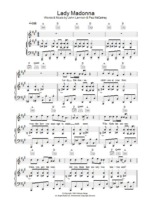 Lady Madonna (Piano, Vocal & Guitar)