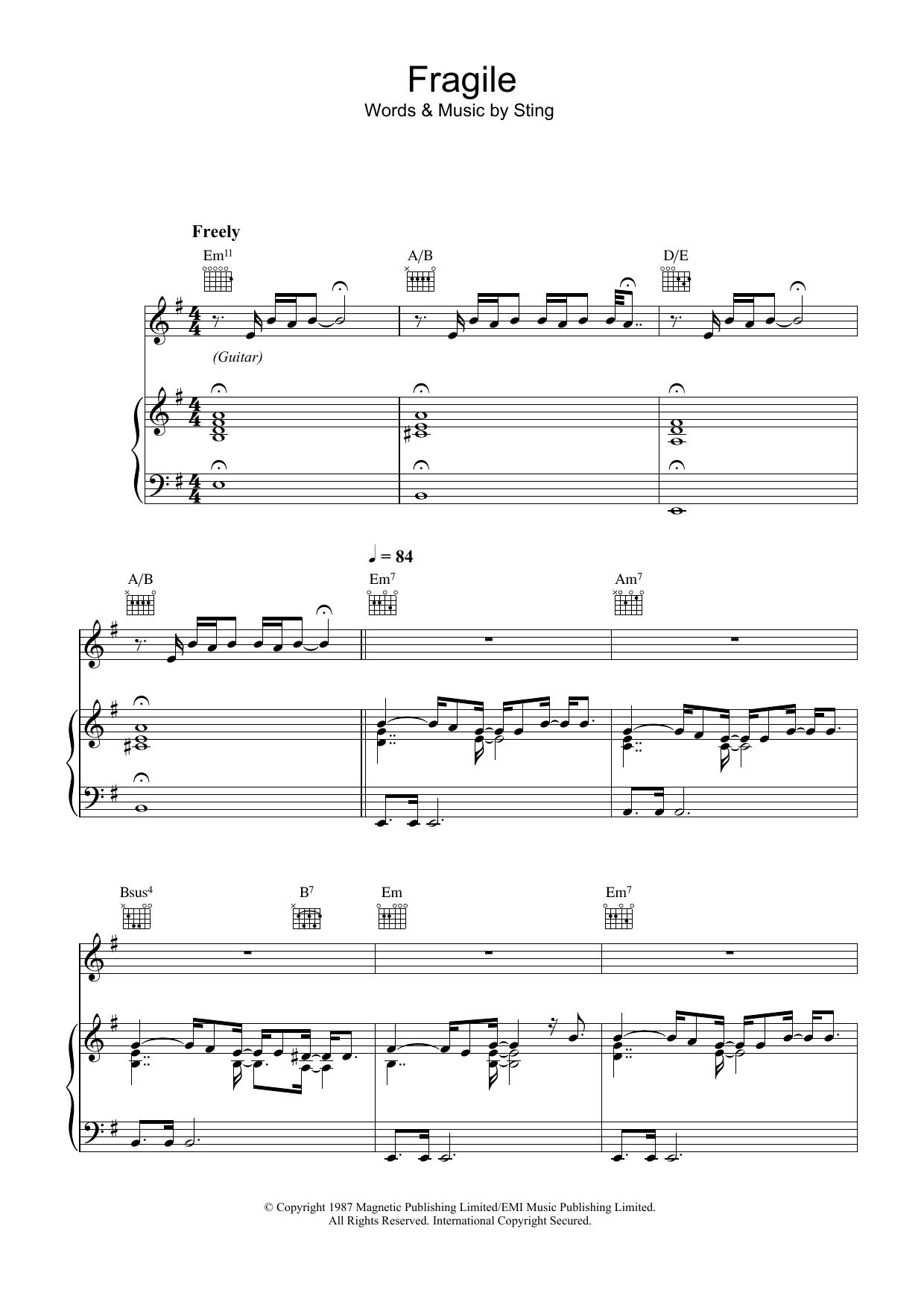 Fragile (Piano, Vocal & Guitar)