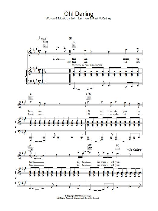 Oh Darling Sheet Music Direct