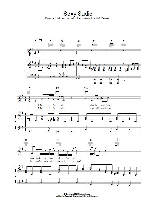 Sexy Sadie Sheet Music