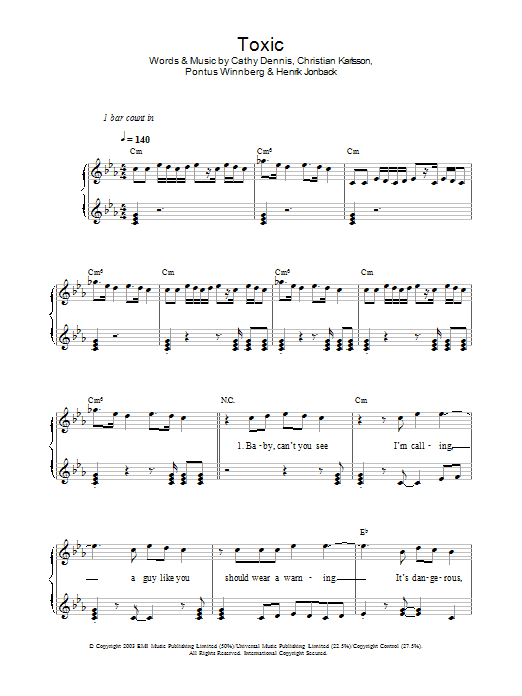Toxic | Sheet Music Direct