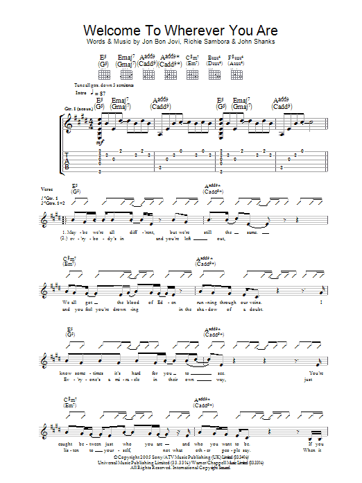 Welcome To Wherever You Are (Guitar Tab)