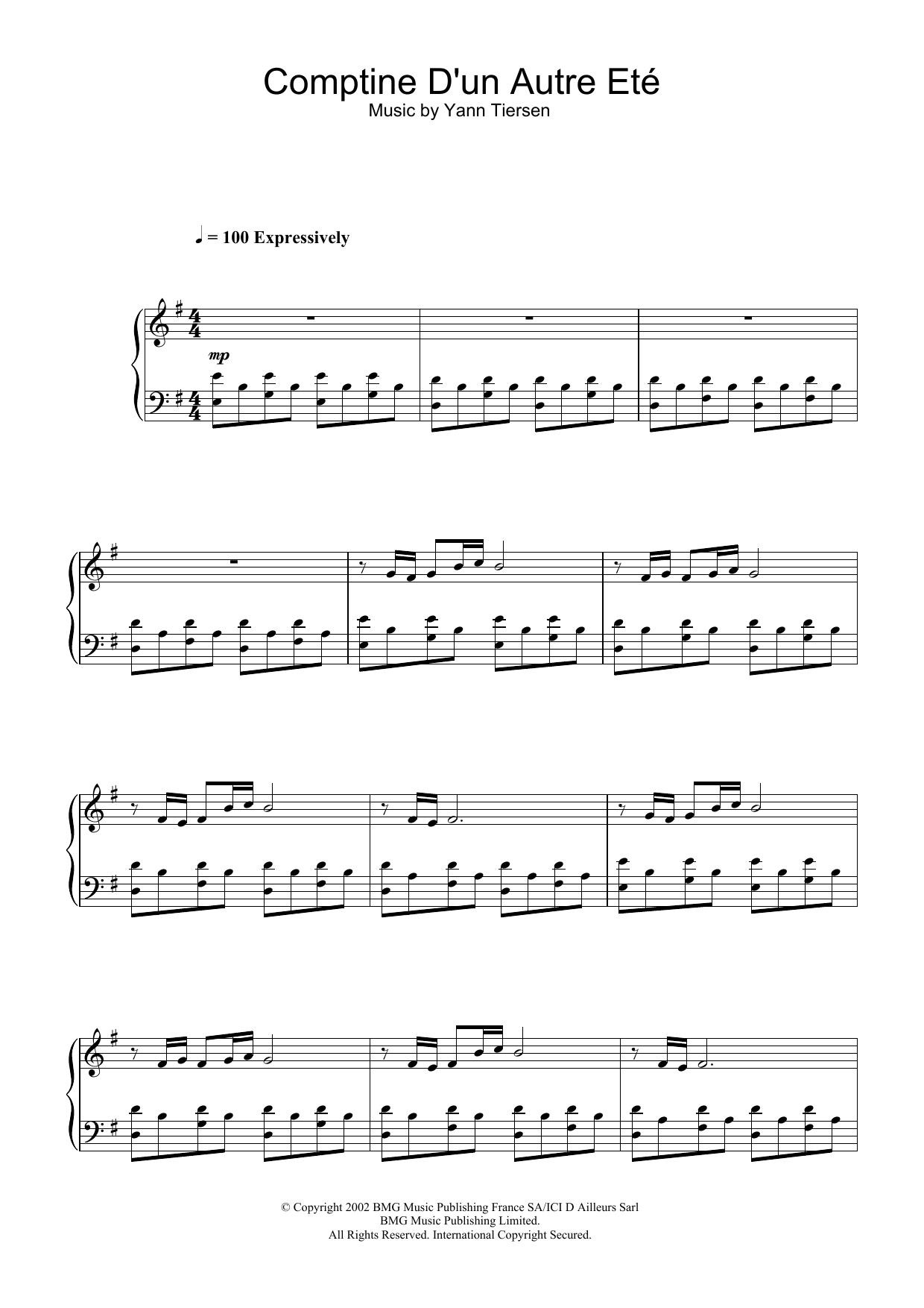 Comptine D'un Autre Ete (from Amelie) (Piano Solo)