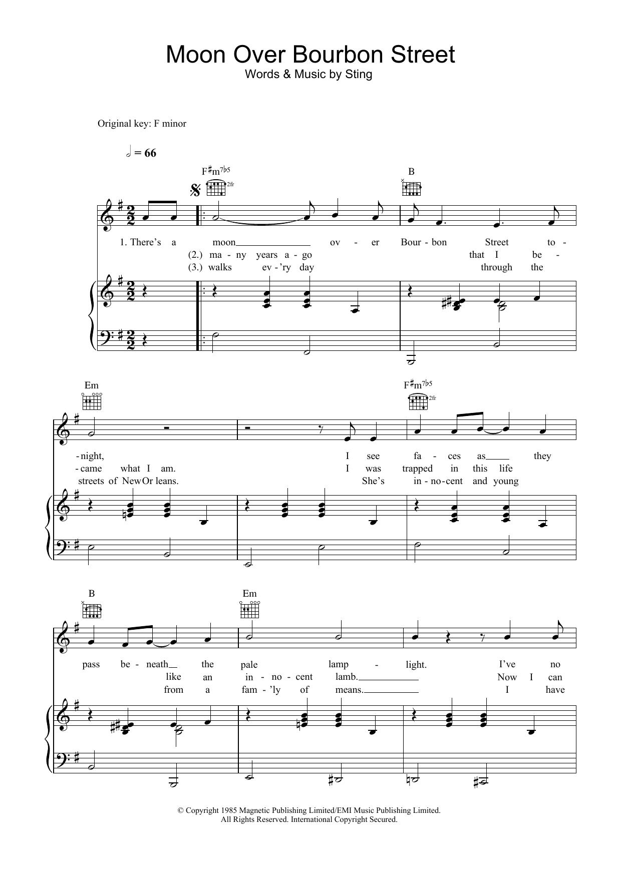 Moon Over Bourbon Street (Piano, Vocal & Guitar)