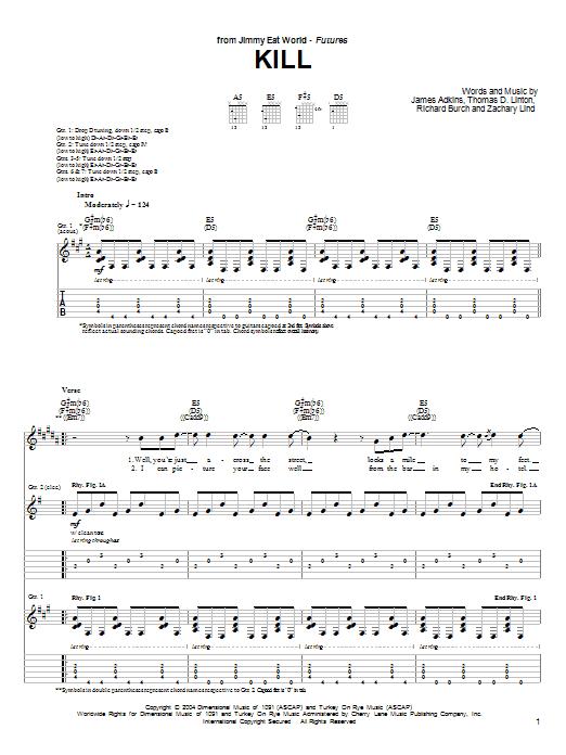 Tablature guitare Kill de Jimmy Eat World - Tablature Guitare