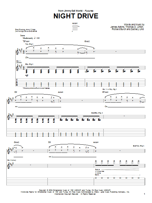 Tablature guitare Night Drive de Jimmy Eat World - Tablature Guitare