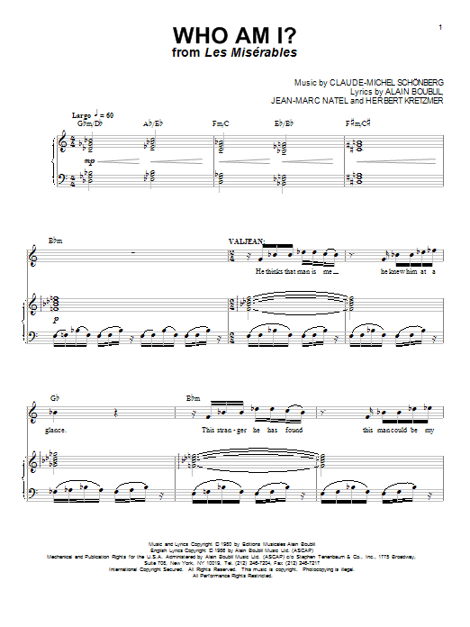 Sheet Music Digital Files To Print - Licensed Les Miserables