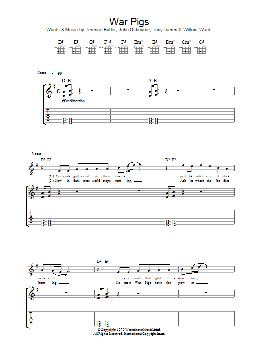 War Pigs Sheet Music Direct
