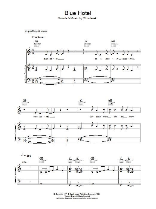 Blue Hotel Sheet Music