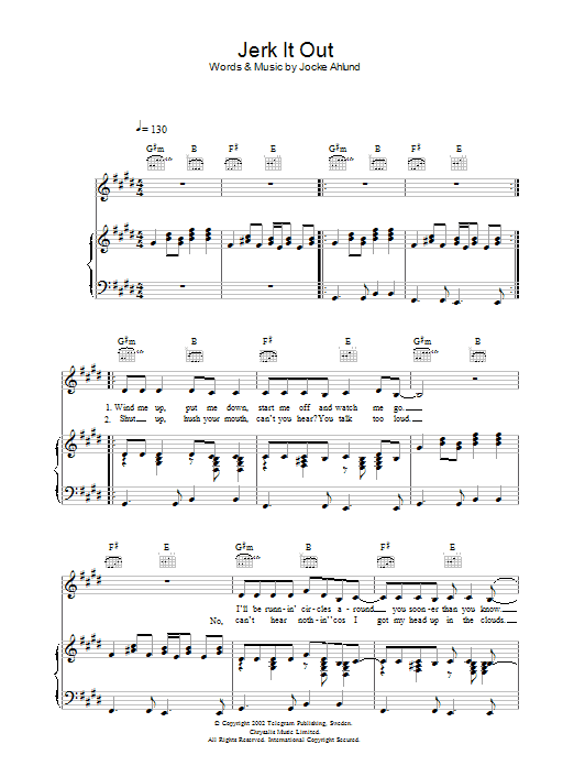 Jerk It Out (Piano, Vocal & Guitar)