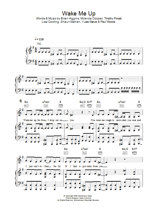 Wake Me Up Sheet Music Girls Aloud Piano Vocal Guitar Right