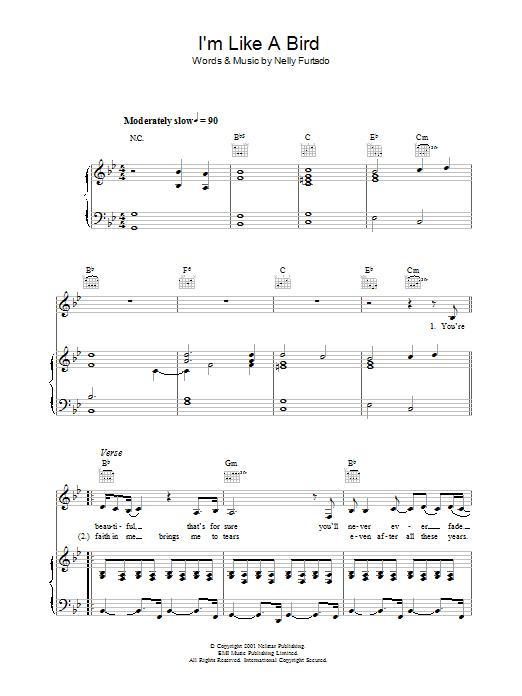 I'm Like A Bird (Piano, Vocal & Guitar)