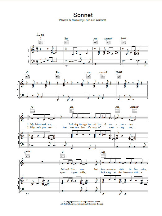 Sonnet (Piano, Vocal & Guitar)