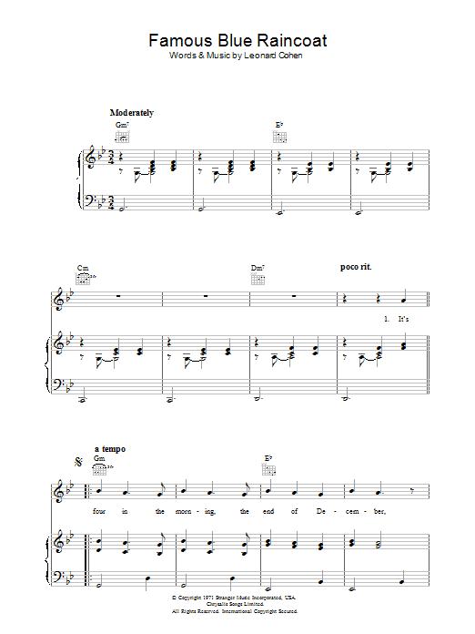 Famous Blue Raincoat (Piano, Vocal & Guitar)