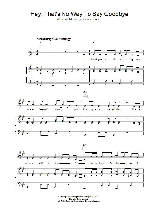 Hey, That's No Way To Say Goodbye Sheet Music