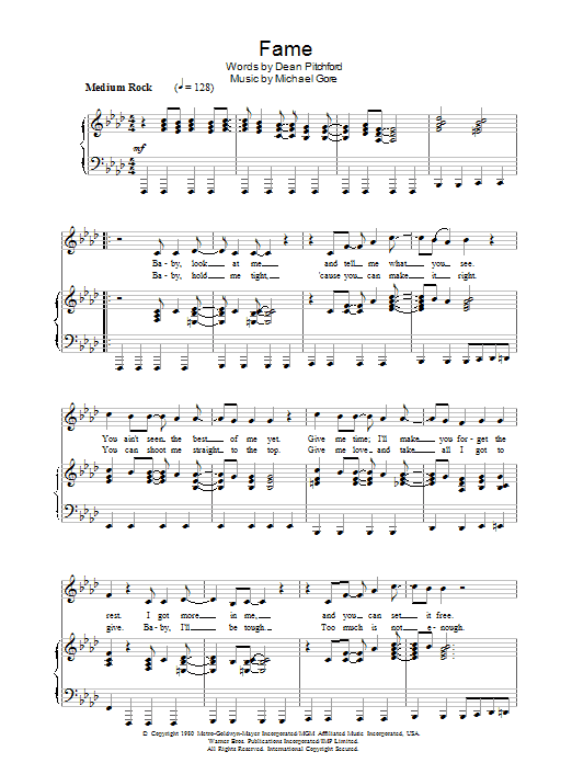 Fame (Piano, Vocal & Guitar (Right-Hand Melody))