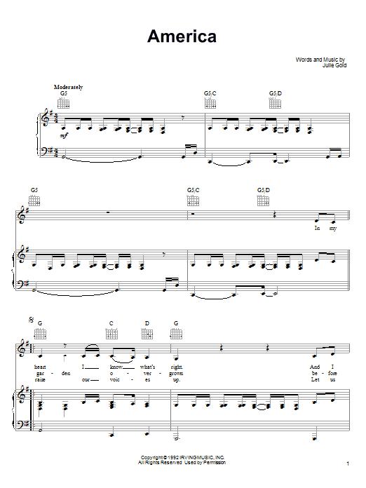 Partition piano America (1992) de Julie Gold - Piano Voix Guitare (Mélodie Main Droite)