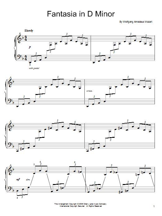 Partition piano Fantasia in D Minor, K. 397 de Wolfgang Amadeus Mozart - Piano Facile
