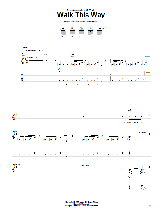 Walk This Way Guitar Tab by Aerosmith and Run D.M.C. (Guitar Tab ...