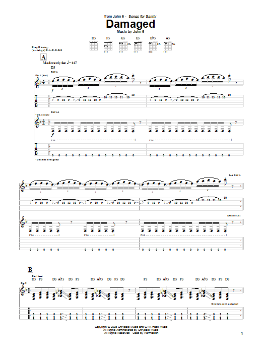 Tablature guitare Damaged de John 5 - Tablature Guitare