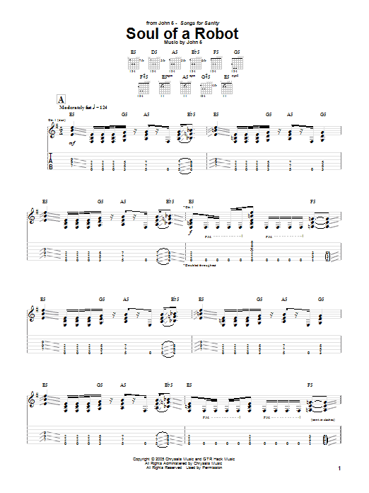Tablature guitare Soul Of A Robot de John 5 - Tablature Guitare