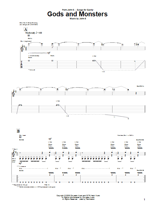 Gods And Monsters (Guitar Tab)