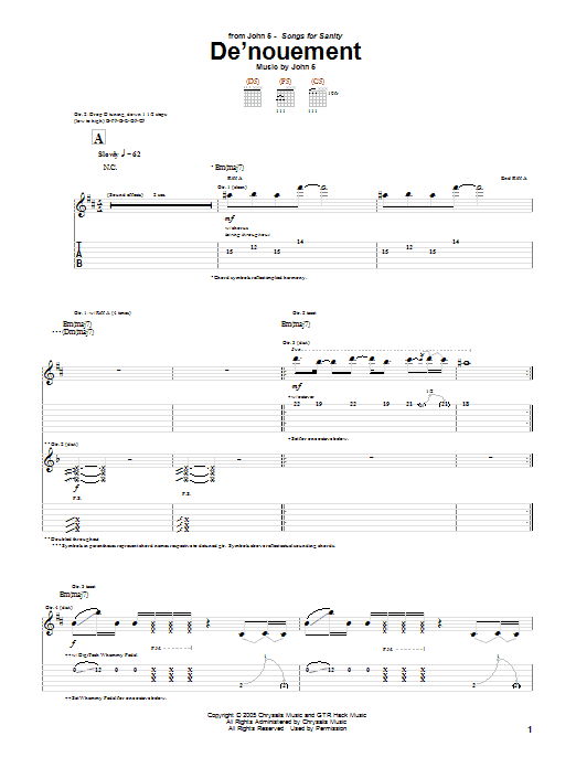Tablature guitare De'nouement de John 5 - Tablature Guitare