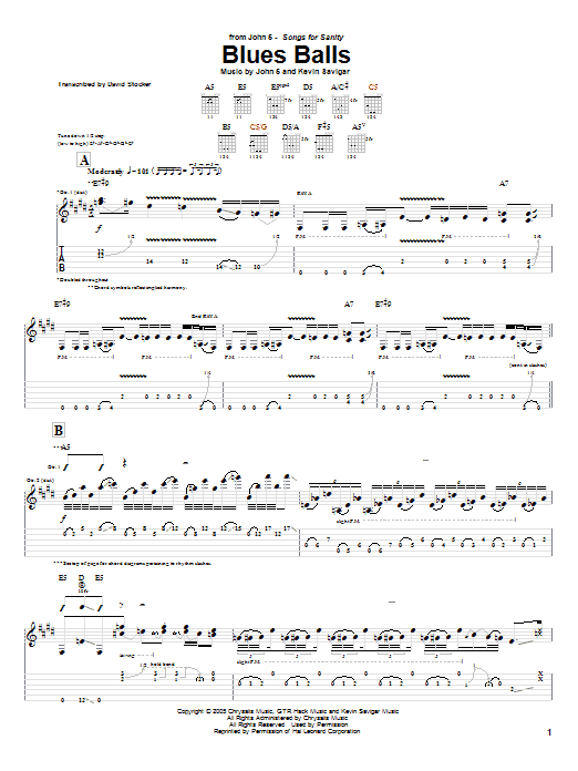 Tablature guitare Blues Balls de John 5 - Tablature Guitare