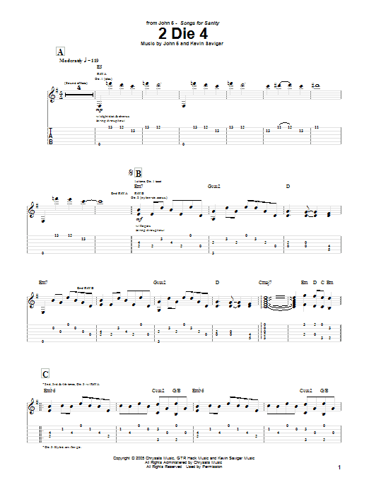 Tablature guitare 2 Die 4 de John 5 - Tablature Guitare