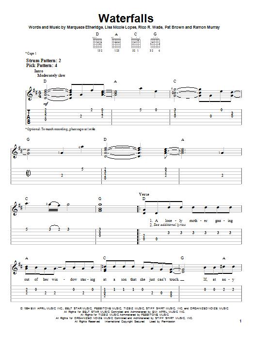 Tablature guitare Waterfalls de TLC - Tablature guitare facile