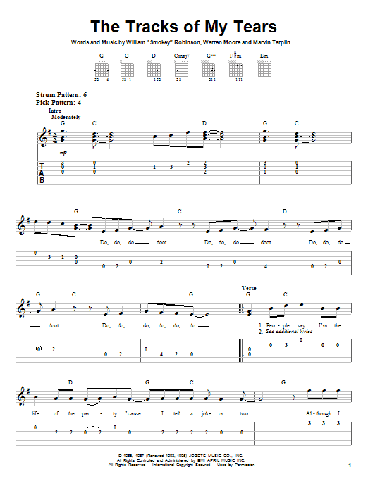 Tablature guitare The Tracks Of My Tears de The Miracles - Tablature guitare facile