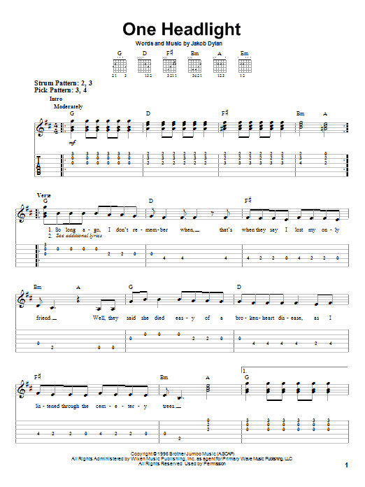 One Headlight Sheet Music