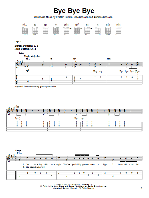 Tablature guitare Bye Bye Bye de 'N Sync - Tablature guitare facile