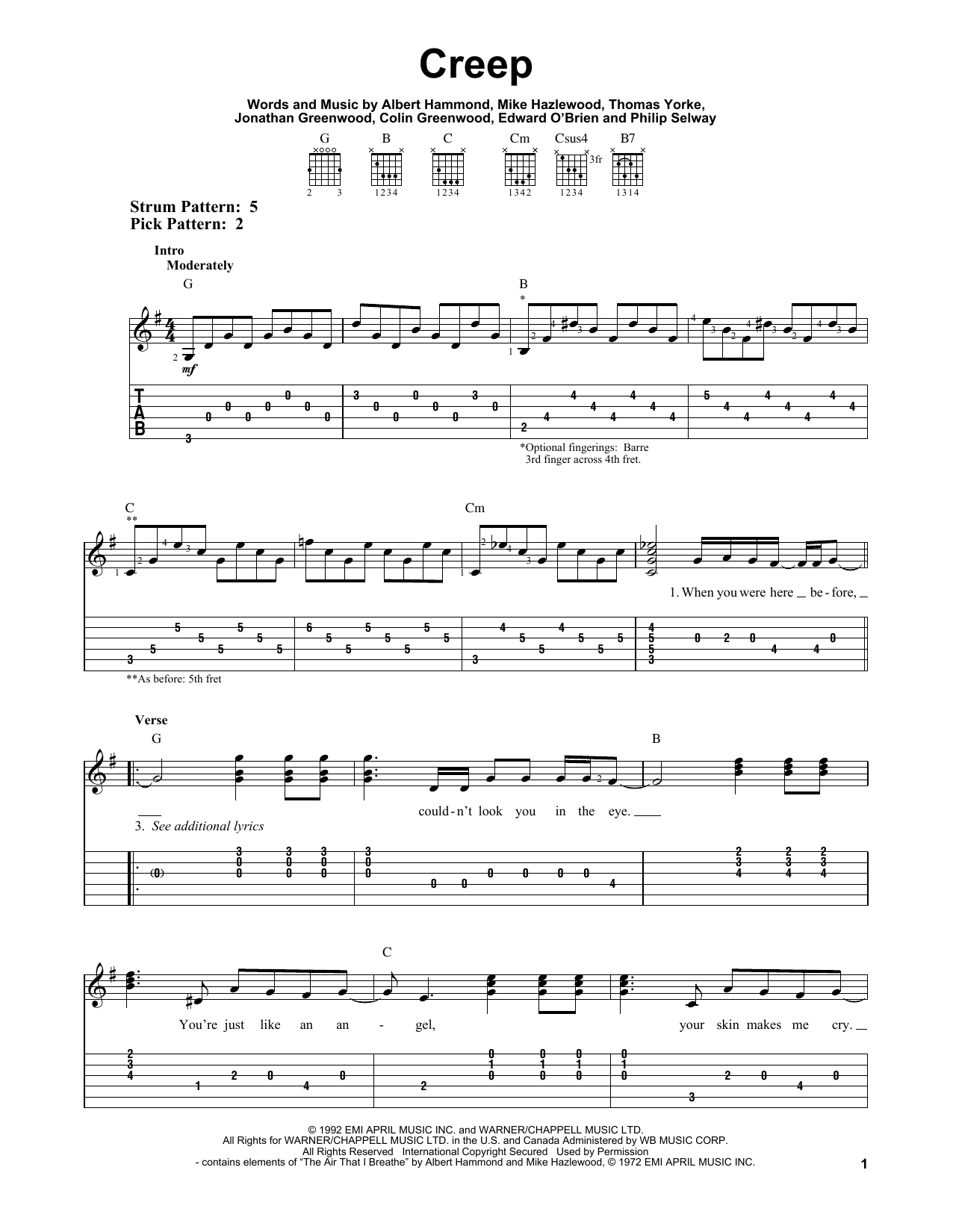 Creep By Radiohead Easy Guitar Tab Guitar Instructor
