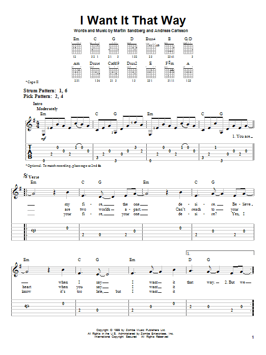 Tablature guitare I Want It That Way de Backstreet Boys - Tablature guitare facile