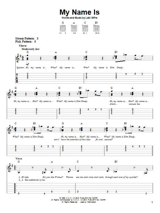 Tablature guitare My Name Is de Eminem - Tablature guitare facile