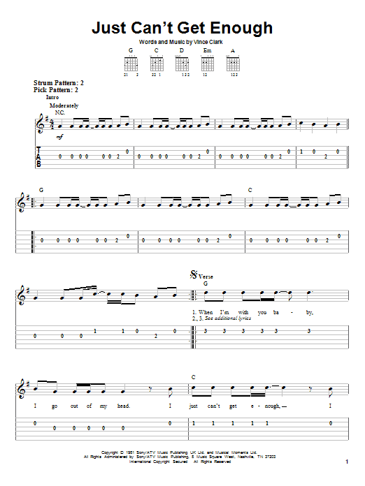Just Can't Get Enough (Easy Guitar Tab)