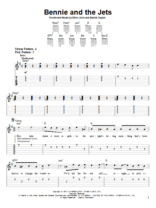 Tablature guitare Bennie And The Jets de Elton John - Tablature guitare facile