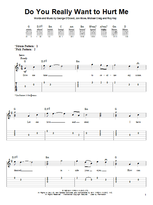 Do You Really Want To Hurt Me By Culture Club Easy Guitar Tab
