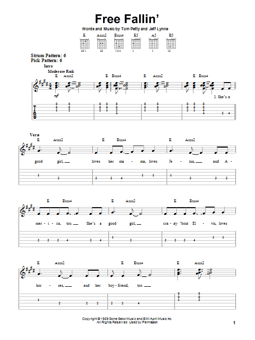 Free Fallin By Tom Petty Easy Guitar Tab Guitar Instructor