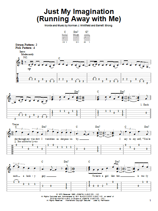 Just My Imagination (Running Away With Me) (Easy Guitar Tab)