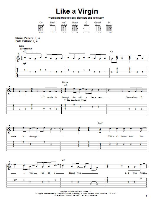 Tablature guitare Like A Virgin de Madonna - Tablature guitare facile