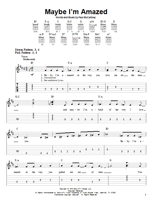 Maybe I\'m Amazed by Paul McCartney - Easy Guitar Tab - Guitar Instructor